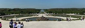 Latona Fountain - Panorama of the Latona Basin with the Grand Canal in the background