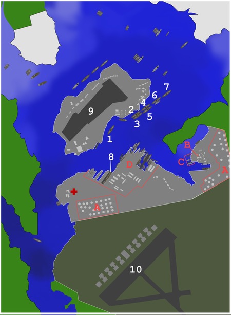 Map of Pearl Harbor, with locations of battleships and facilities