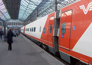 VR Class Sm3 - A Pendolino at Helsinki Central railway station.