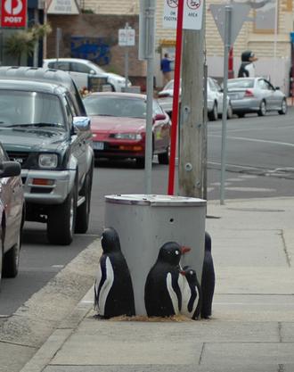 """Penguin, Tasmania - """"Penguin"""" themed rubbish bin in the town"""