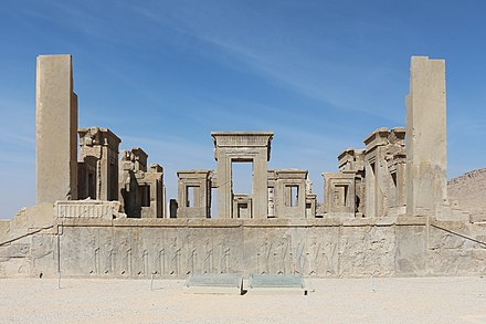 The ruins of Tachara palace in Persepolis Persepolis - Tachara 01.jpg