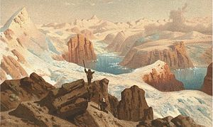 Petermann Peak - Representation of the 12 August 1870 discovery of Petermann Peak by Julius Payer and Ralph Copeland after climbing onto Payer Peak.
