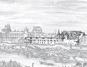 Hôtel du Petit-Bourbon - Image: Petit Bourbon on an engraving by Stefano della Bella Gallica 2011 (highlighted)