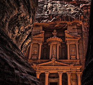 Arabs -  Façade of Al Khazneh in Petra, Jordan, built by the Nabateans.