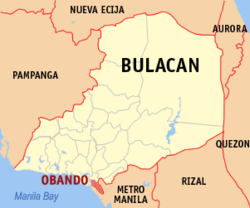 Map of Bulacan showing the location of Obando