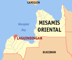 Map of Misamis Oriental showing the location of Laguindingan