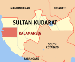Map of Sultan Kudarat with Kalamansig highlighted
