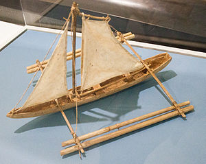 Paraw - Model in the Vatican Museums of a Philippine sailing boat with outrigger.