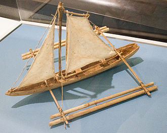 Paraw - Model in the Vatican Museums of a Philippine sailing boat with outrigger. Note that the sail is incorrectly modeled.