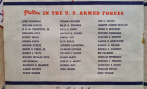 1945 Philadelphia Phillies season - 1945 Phillies program listing team members serving in World War II