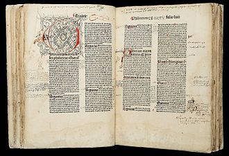"Incunable - Image of two facing pages from ""Phisicorum"", fols. 57b and 58a, with doodles and drawings. HMD Collection, WZ 230 M772c 1485."