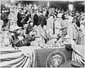 Photograph of President Truman with Mrs. Truman and other dignitaries, at Griffith Stadium in Washington on opening... - NARA - 200102.jpg
