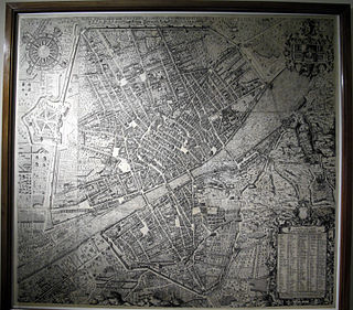 historic axonometric map of the city of Florence, etching in 1584 and later reissued in 1594