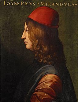 "Pico della Mirandola, writer of the famous Oration on the Dignity of Man, which has been called the ""Manifesto of the Renaissance"". Pico1.jpg"
