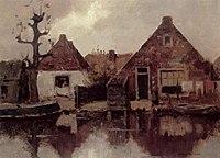 Piet Mondriaan - Two gabled house façades along a canal - A251 - Piet Mondrian, catalogue raisonné.jpg