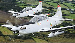 Ireland–NATO relations - The Irish Air Corps relies on outdated single-engine turboprop Pilatus PC-9 trainer aircraft, which cannot fly at the speed of modern jet aircraft