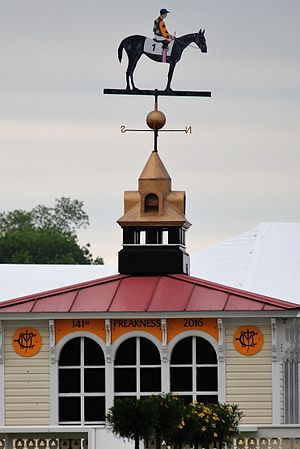 Preakness Stakes - The weather vane at Pimlico is painted with the winner's colors