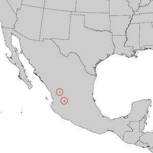 Pinus maximartinezii - Image: Pinus maximartinezii range map 1