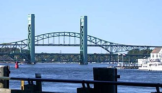 Piscataqua River - Piscataqua River from Portsmouth, New Hampshire, with the former Sarah Mildred Long Bridge and the Piscataqua River Bridge (background)