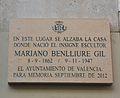 Placa on estava la casa on va nàixer Marià Benlliure, carrer de Baix, València.JPG