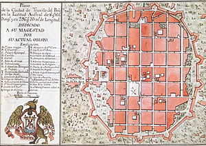 Historic Centre of Trujillo - Plan of the historic centre of Trujillo in 1786 made by Bishop Baltasar Jaime Martínez Compañón shows the walled city. Is observed in the plan 15 bastions, the 15 shades and 5 gates of the Wall of Trujillo.