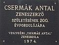 Plaque of Antal Csermák, Csermák Antal Music School, Megyeház Square, Veszprém, 2016 Hungary.jpg