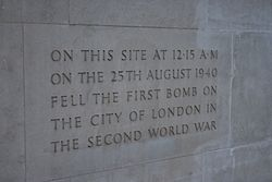 Photo of first bomb on the City of London in the Second World War