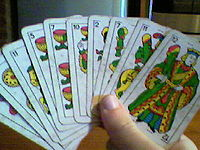 Player of Tute holding cards.jpg