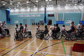 Players and staff members of the U.S. and Great Britain Paralympic wheelchair basketball teams shake hands after the teams' final scrimmage at the University of East London Aug. 29, 2012, before the start 120829-A-SR101-1525.jpg