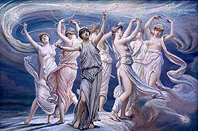Painting of the Greek Pleiades (1885) by Elihu Vedder.