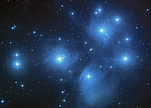 A color-composite image of the Pleiades from the Digitized Sky Survey