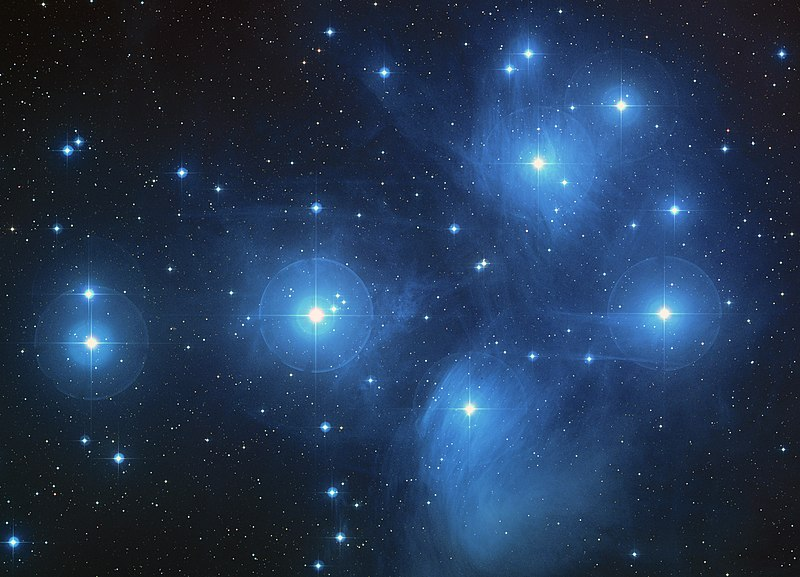 The Pleiades, an open cluster consisting of approximately 3,000 stars at a distance of 400 light-years (120 parsecs) from Earth in the constellation of Taurus. It is also known as