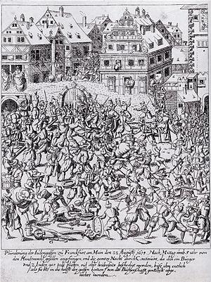 Pogrom - Image: Pluenderung der Judengasse 1614