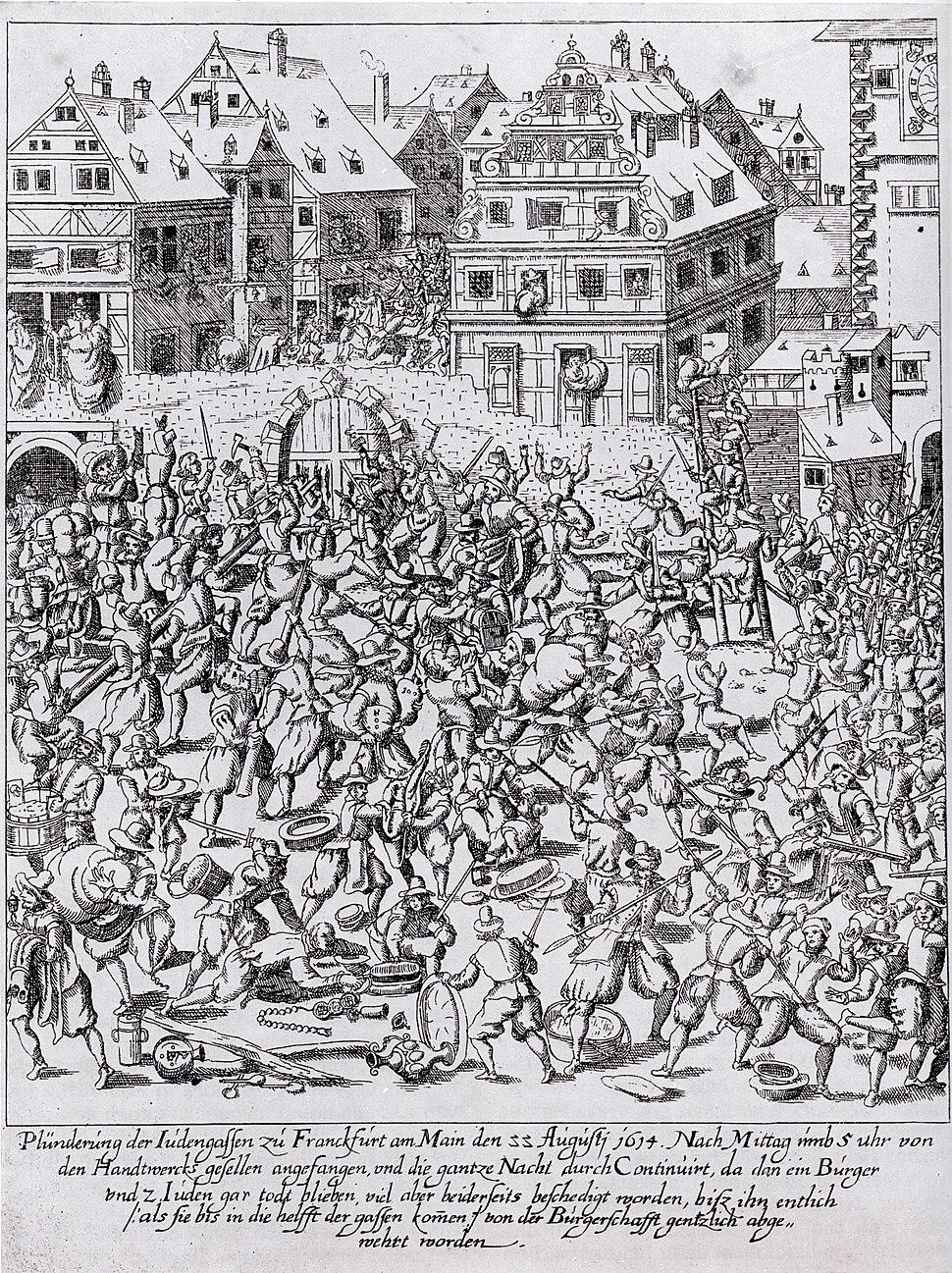 Pluenderung der Judengasse 1614