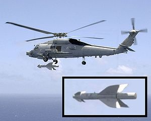 Penguin (missile) - A U.S. Navy SH-60B Seahawk helicopter fires an AGM-119 missile off the coast of Okinawa, Japan, in July 2002.