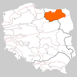 Location of Masurian Lake District in Poland