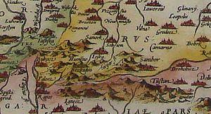 "Sanok Land - Sanok. Map of ""Poloniae finitimarumque locorum descriptio"", 1579 by  Wacław Grodecki"