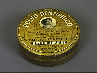 Dentifrice - Botica Iturbide brand tooth powder (early 20th century, Mexico) from the permanent collection of the Museo del Objeto del Objeto.