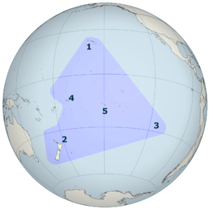 Polynesian Triangle - The Polynesian Triangle is a geographical region of the Pacific Ocean with Hawai{{okina}}I (1), New Zealand (Aotearoa) (2) and Rapa Nui (3) at its corners. At the center is Tahiti (5), with Samoa (4) to the west.