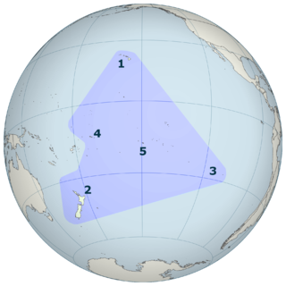 Polynesian Triangle region of the Pacific Ocean with three island groups at its corners