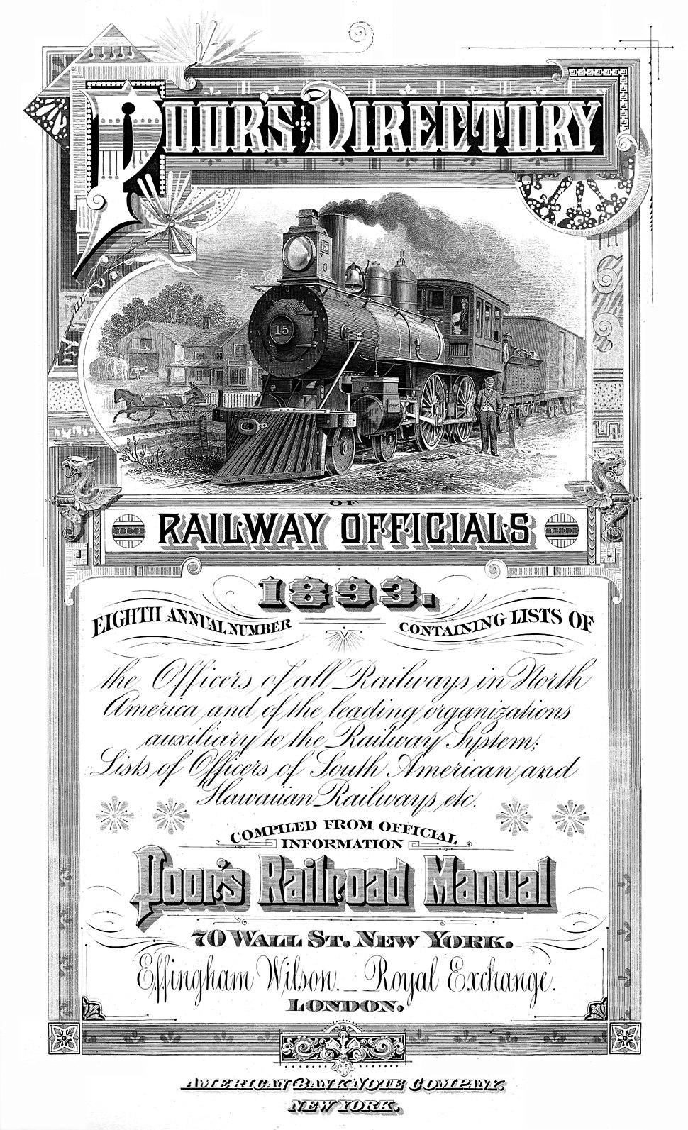 Poor's Directory of Railroad Officials 1893 (Frontispiece)