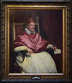 Portrait of Innocentius X by Diego Velázquez in Galleria Doria Pamphilj (Rome).jpg