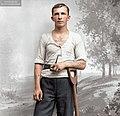 Portrait of a tattooed worker, Lagergren's photo studio, Skeppargatan 28, Visby, Gotland, Sweden c.1900. (50075109991).jpg