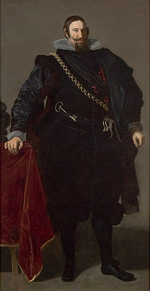 Chamberlain (office) - Gaspar de Guzmán, Count of Olivares, painting by Diego Velázquez, 1624. In the covenant of the royal favourites is the Chamberlain's key.