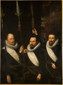 Portrait of three officers of the White Banner of the Civic Guard of The Hague (1614).png