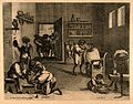 Practitioners and patients in a busy barber-surgeon's shop; Wellcome V0011086.jpg