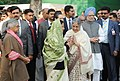 Pratibha Devisingh Patil being welcomed by the Prime Minister, Dr. Manmohan Singh and his wife Smt. Gursharan Kaur, at the cultural programme on the occasion of 92nd birth anniversary of former Prime Minister.jpg