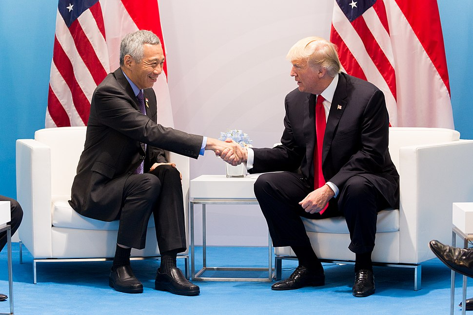 President Donald J. Trump and Prime Minister Lee Hsien Loong at G20, July 8, 2017