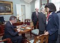 President George H. W. Bush meets with staff during the Summit in Helsinki.jpg