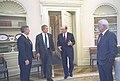 President George W. Bush talks with Alan Greenspan, Paul O'Neill, and Andy Card.jpg